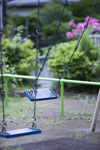 Image of two empty swings in motion