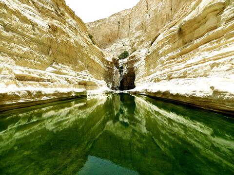 A photo of water in a canyon in daylight in Ein Avdat, Israel