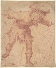 An image of an anonymous drawing of King Saul in a rage, wearing a plumed helmet