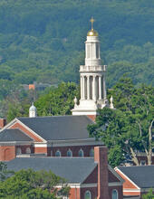 A photo of Marquand Chapel from the distance